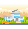 city school building with yellow bus - modern vector image