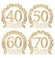 set of golden anniversary seals fortieth vector image