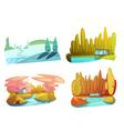 Nature Seasons 4 Icons Set Retro vector image