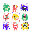 friendly cartoon funny monsters and aliens set vector image vector image