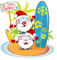 santa claus cartoon on island beach vector image vector image