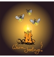 Romantic warm card with Candle and fireflies vector image
