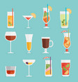 alcohol drinks and cocktails icon set in flat vector image
