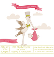 Baby Shower Card with Stork vector image