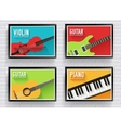 Colorful classical musical instruments background vector image