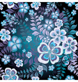 Seamless black and white-blue floral pattern vector image
