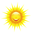 Smiling cute sun cartoon vector image