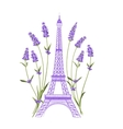 Eiffel tower with lavender flowers vector image