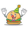 Clown burger character fast food vector image