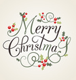 Flat Design Style Christmas Card with holly leaves vector image