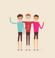 adult guysmenthree best friendshappy smiling vector image