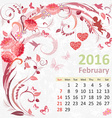 Calendar for 2016 February vector image