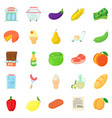grow vegetables icons set cartoon style vector image