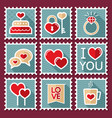 valentines day postage stamps vector image