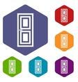 Door icons set vector image vector image