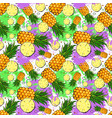 seamless pattern pineapple fruits exotic ornament vector image