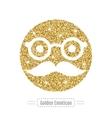 Golden glitter emoticon icon vector image