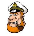 Happy cartoon captain or sailor character vector image