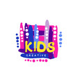 kids creative colorful logo design template hand vector image