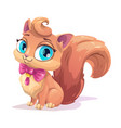 little cute cartoon fluffy kitten vector image