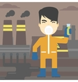 Man in radiation protective suit with test tube vector image vector image