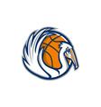 Pelican Wings Basketball Retro vector image
