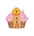 Small Cupcake Castle With Cream Roof And Waffle vector image