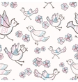 flowers and birds vector image