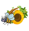 A smiling bee beside the beehive vector image