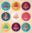 Birthday and Wedding Cakes in Vintage Style vector image