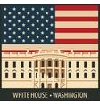 white house washington dc with flag vector image vector image