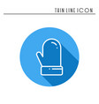 christmas mitten glove thin line icon new year vector image