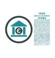 Euro Bank Rounded Icon with 1000 Bonus Icons vector image