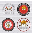 firefighter label template of emblem element for vector image