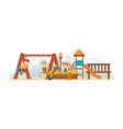 guys having fun ride on swing an amusement park vector image
