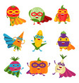 superheroes vegetables in different costumes set vector image