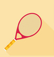 tennis racket flat design with long shadow vector image