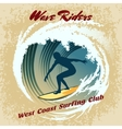 Wave Riders surfing label vector image