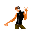 funky stylish young DJ vector image