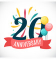 anniversary 20 years template with ribbon vector image