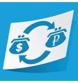 Dollar-ruble exchange sticker vector image