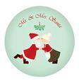 mr mrs santa under the mistletoe vector image vector image