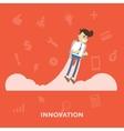 Businessman takes off on jetpacks business concept vector image