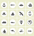 ector - set of nautical sea ocean sailing icons vector image