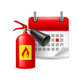 Fire extinguisher and calendar vector image