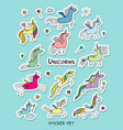 magic unicorns stickers collection for your vector image
