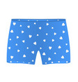 Mens boxer shorts with white hearts vector image