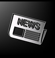 newspaper sign gray 3d printed icon on vector image