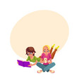 two girls siting crossed legs reading book using vector image
