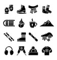 winter clothes icons set simple style vector image